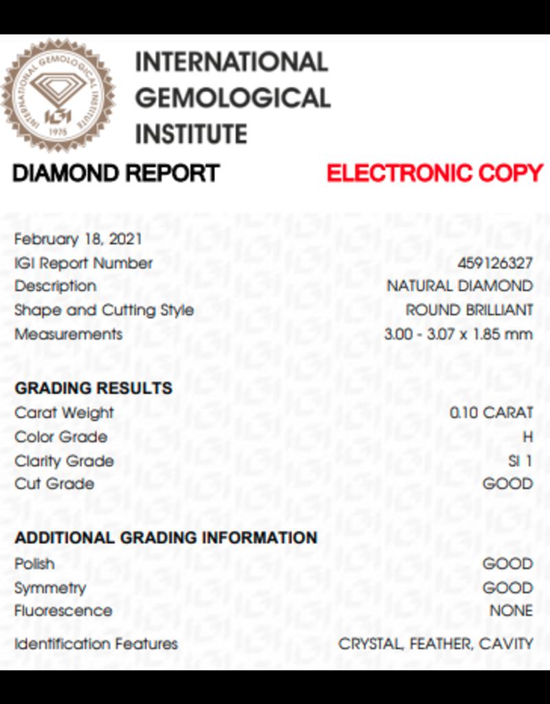 IGI Brillante - 0,10 ct - H - SI1 G/G/G None