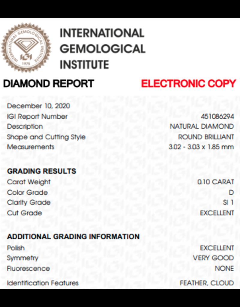 IGI Brillante - 0,10 ct - D - SI1 Exc/Exc/VG None