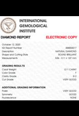 IGI Brillante - 0,11 ct - F - SI2 VG/VG/G None