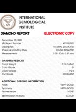 IGI Brilliant - 0,11 ct - G - VS2 Exc/VG/VG None