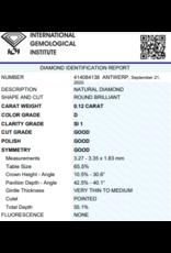 IGI Brilliant - 0,12 ct - D - SI1 G/G/G None