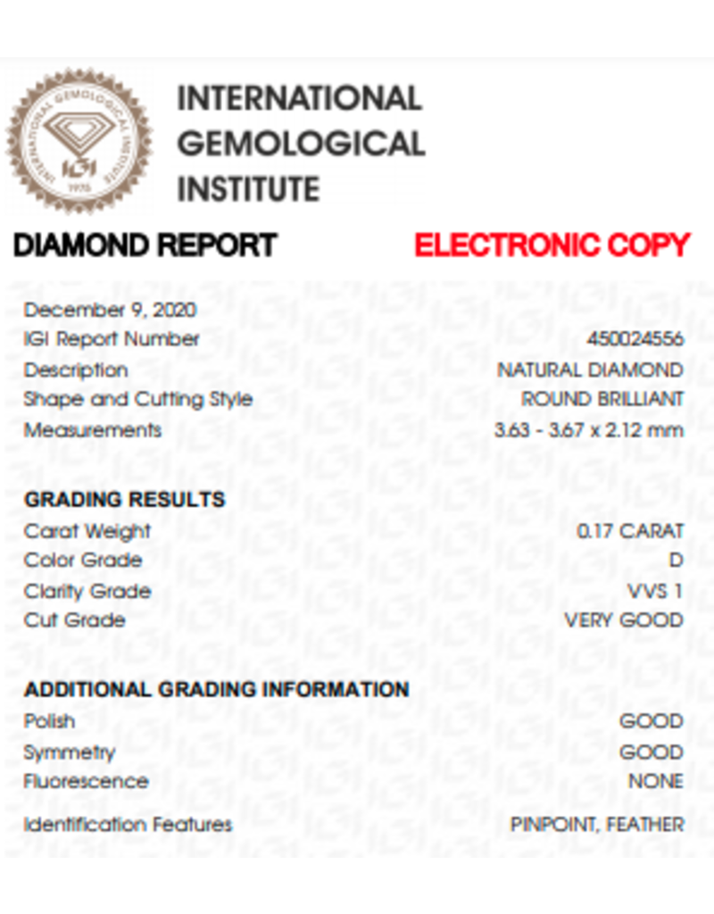 IGI Brillante - 0,17 ct - D - VVS1 VG/G/G None