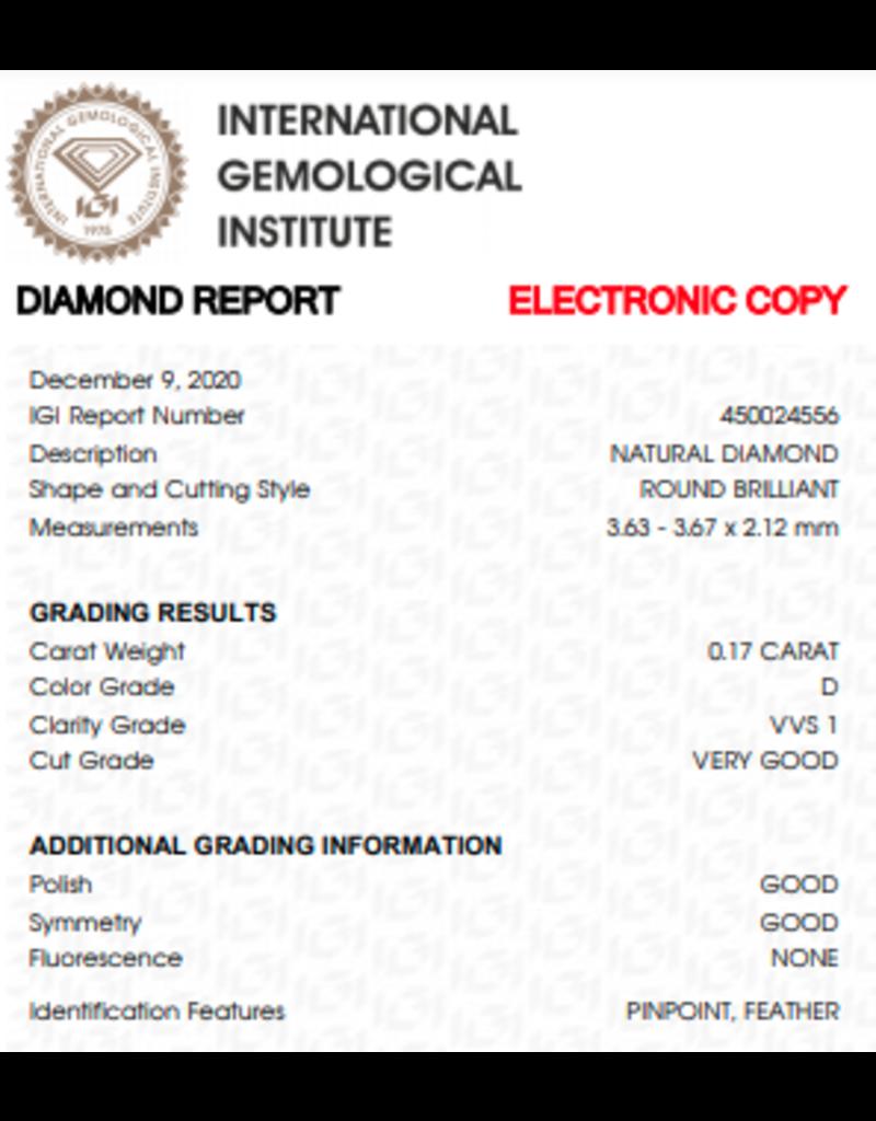 IGI Brilliant - 0,17 ct - D - VVS1 VG/G/G None