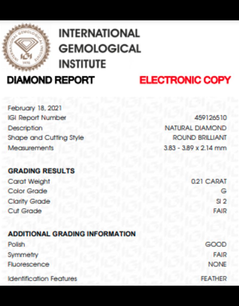IGI Brilliant - 0,21 ct - G - SI2 F/G/F None