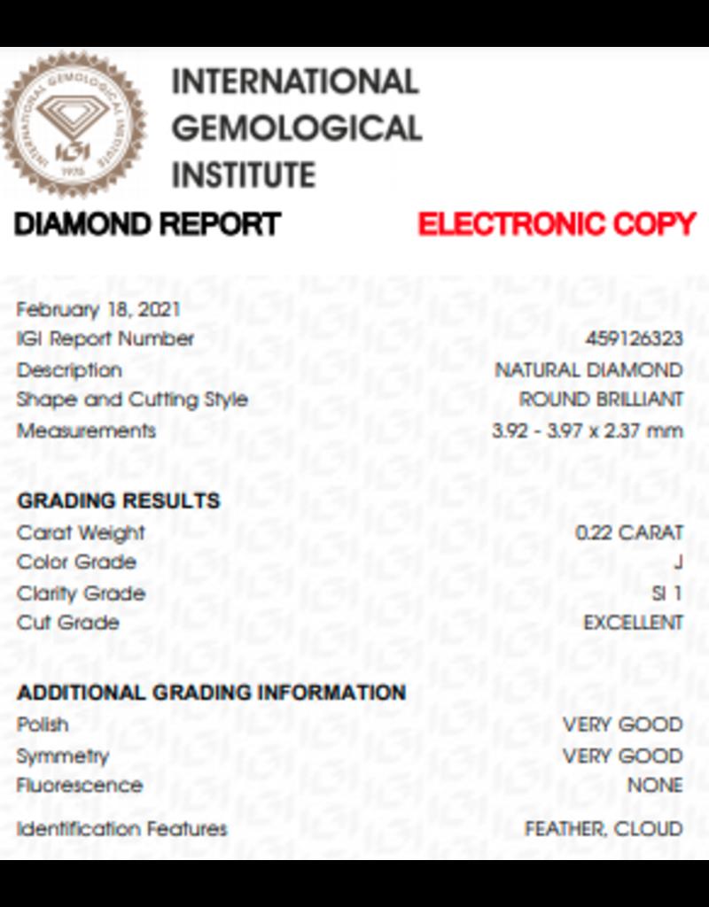 IGI Brilliant - 0,22 ct - J - SI1 Exc/VG/VG None