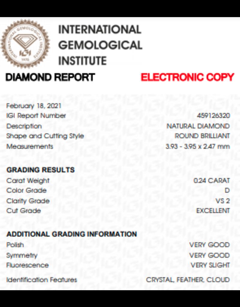 IGI Brillante - 0,24 ct - D - VS2 Exc/VG/VG Very slight