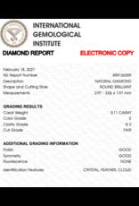 IGI Brilliant - 0,11 ct - E - SI2 F/G/G None