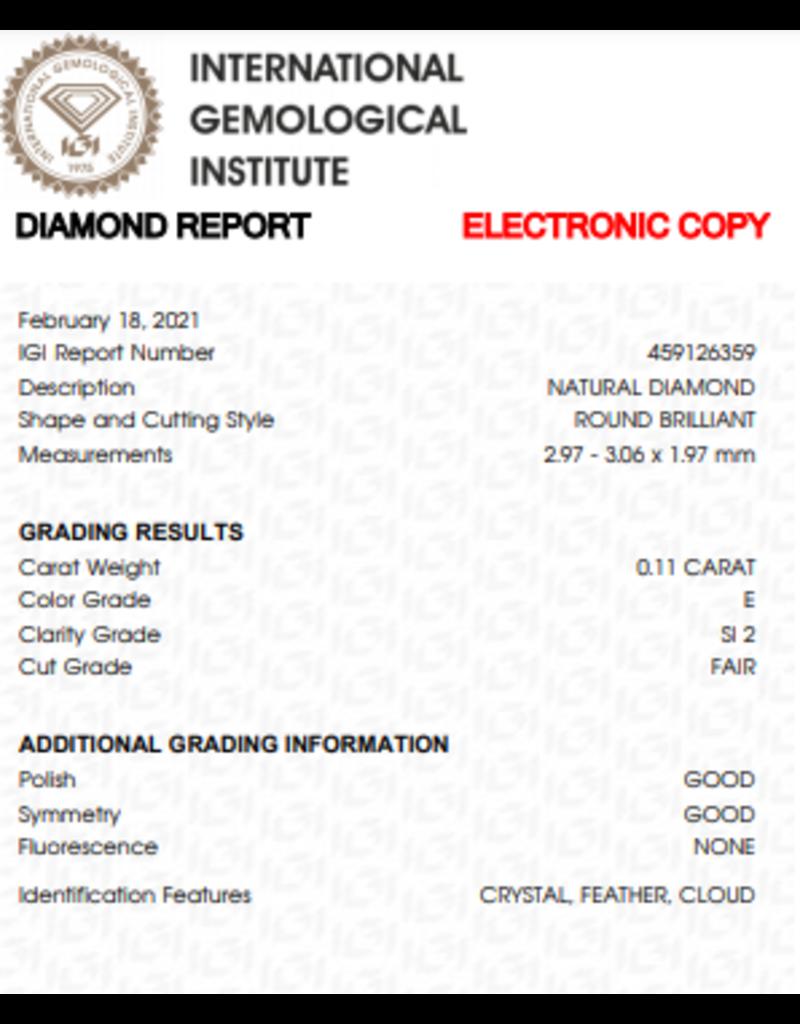 IGI Brillante - 0,11 ct - E - SI2 F/G/G None