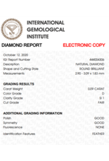 IGI Brilliant - 0,09 ct - D - SI1  F/G/G None