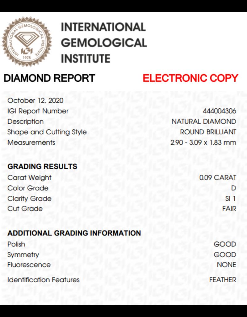 IGI Brillante - 0,09 ct - D -  D - SI1  F/G/G None