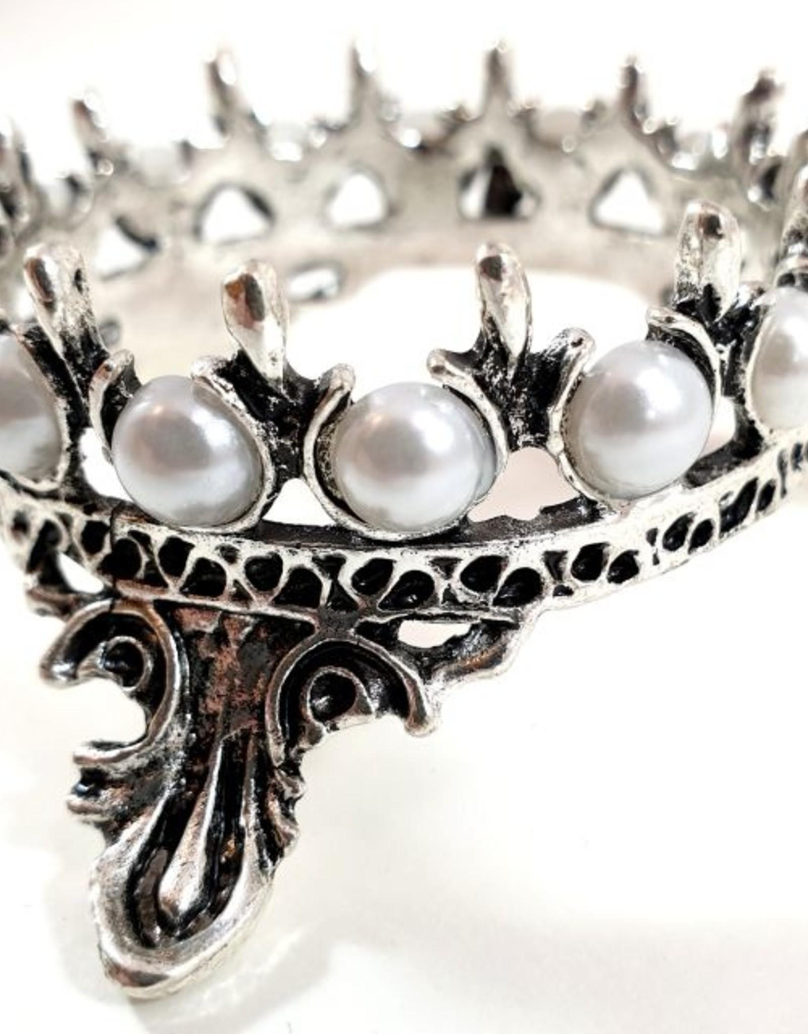 Brush Holder Crown, antique silver