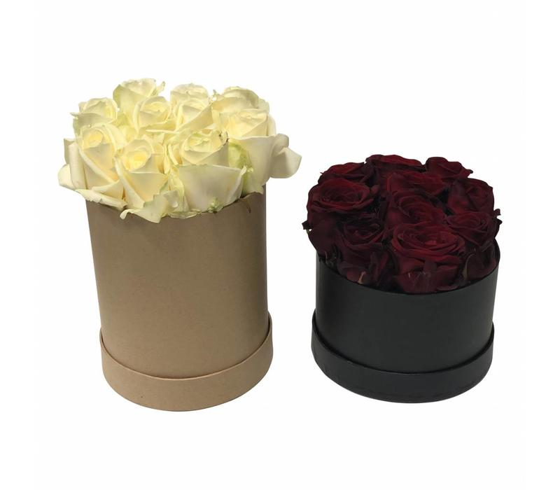 Flowerbox Natur Mit 10 Weißen Rosen Und Steckschaum zum Selber Stecken