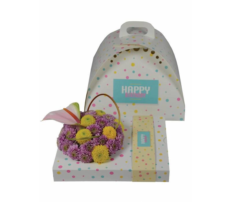 """OASIS® floxi Geschenkverpackung """"happy birthday"""" ohne Blumendeko"""