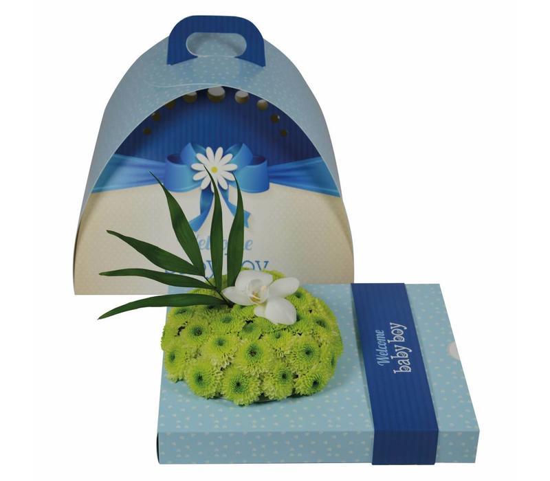 "OASIS® floxi Geschenkverpackung ""welcome babyboy"" ohne Blumendeko"