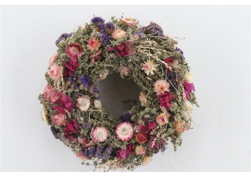 Dekokranz  in Natur/Rosa/Blau