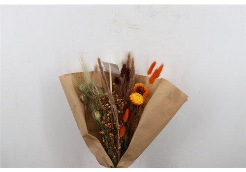 Blumenbouquet aus Trockenblumen in Weiß/Orange (915975)
