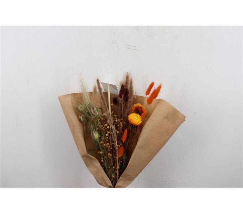 1 Blumenbouquet aus Trockenblumen in Weiß/Orange