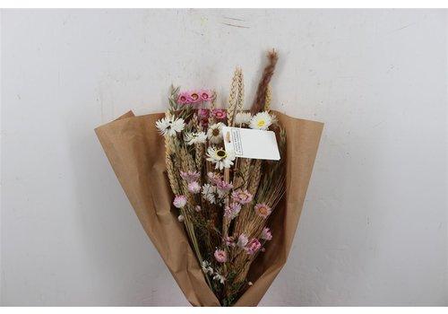 Blumenbouquet aus Trockenblumen in Weiß/Rosa (110527)