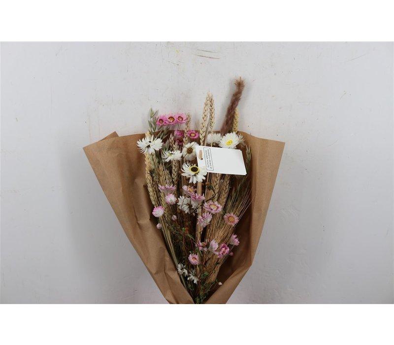 1 Blumenbouquet aus Trockenblumen in Weiß/Rosa