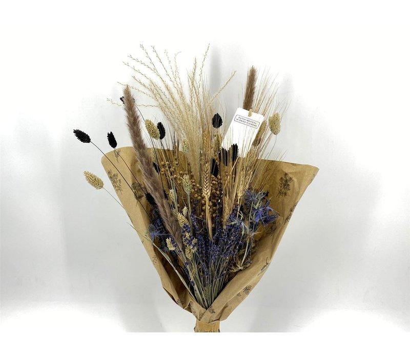 1 Blumenbouquet aus Trockenblumen in Blau/Schwarz