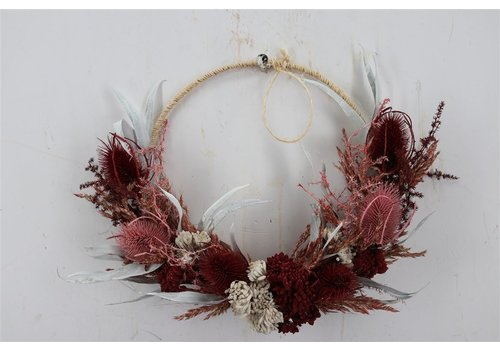 Trockenblumenring  in Rot/creme gehalten(110462)