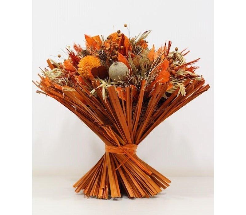 1 Großer Strauß aus Trockenblumen in Orange