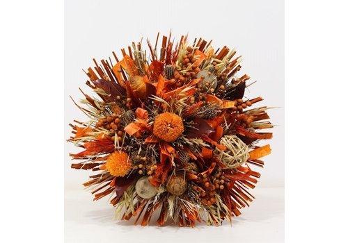 Großer Strauß aus Trockenblumen in Orange