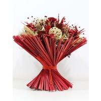 1 Großer Strauß aus Trockenblumen in Rot