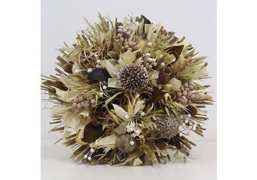 Großer Strauß aus Trockenblumen in Weiß/Creme