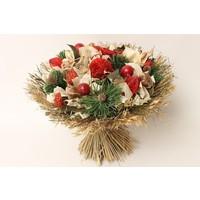 1 Großer Strauß aus Trockenblumen in Rot mit Deko