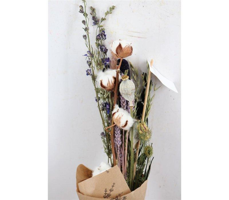 1 Blumenbouquet aus Trockenblumen in Baumwolle und Mohn