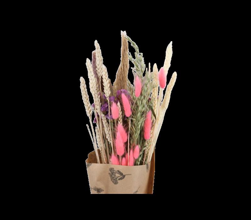 1 Blumenbouquet aus Trockenblumen in Neon Pink