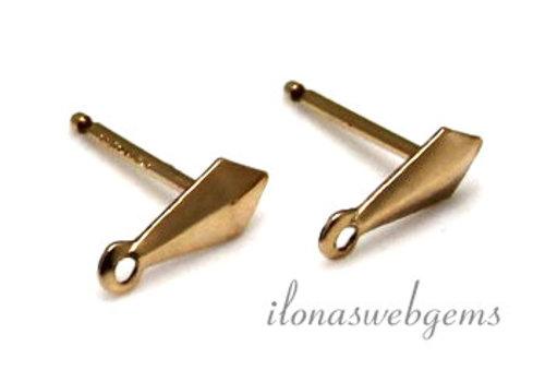 1 paar 14k/20 Gold filled oorstekers zonder poussettes