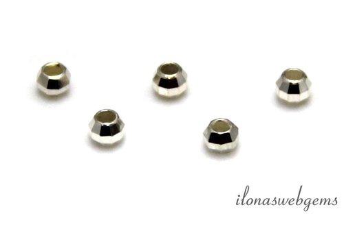 Sterling zilveren kraal 'mirror beads' ca. 3mm