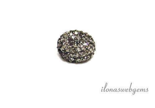 Sterling zilveren kraal disc met diamant ca. 10x5mm
