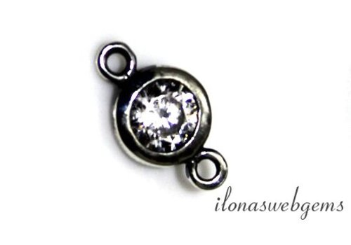 Sterling silver connector with cubic zirconia around 6mm