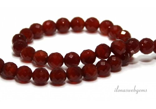 Carnelian - Red Agate beads faceted app. 10mm