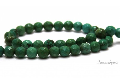 Turquoise beads around facet about 7.5mm