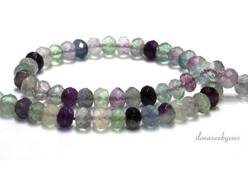 Fluorite beads facet roundel around 8x6mm