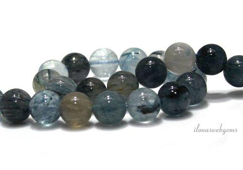 Blue rutiel quartz kralen rond ca. 10mm