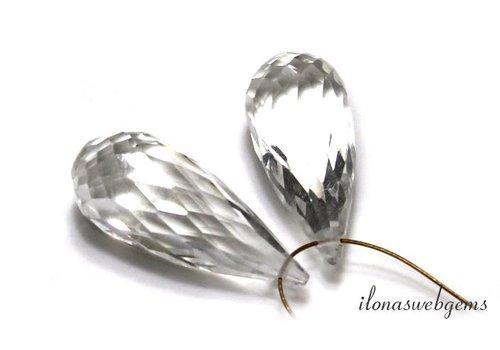 1 pair Clear quartz facet Dew droplets approx. 20x8mm
