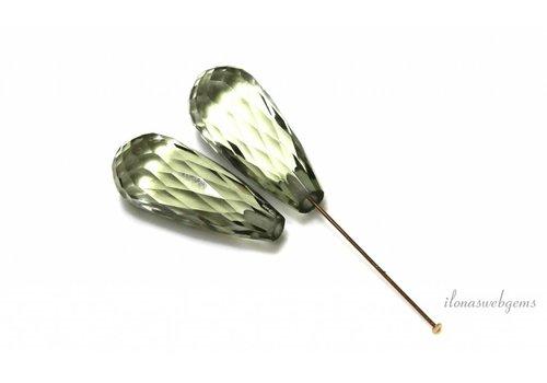 1 Paar grüne Amethyst facettierte Tröpfchen ca. 20x8mm