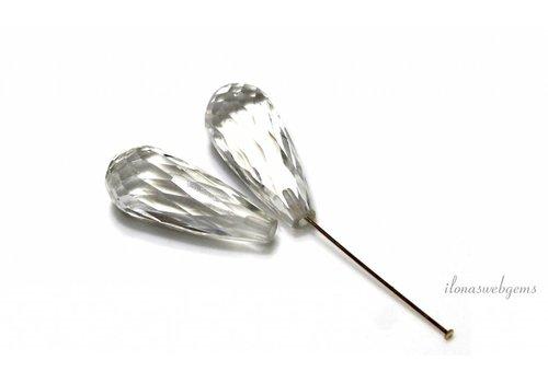 1 paar Bergkristal facet Druppeltjes  ca. 18x8.5mm