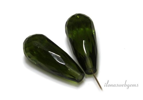 1 paar Olive Quartz Druppels ca. 19x8.5mm