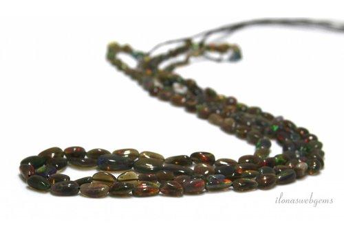 Black Edelopaal beads approx. 10x6x2.5mm