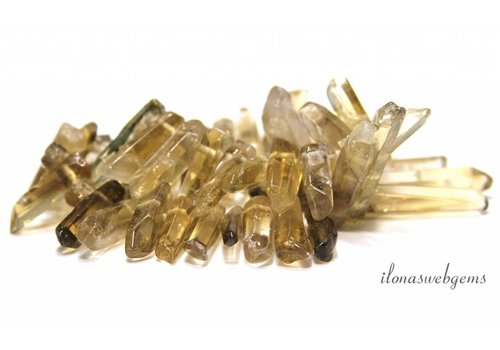 Smoky quartz obelisks rising and falling from 22x7x7 to 45x10x8mm