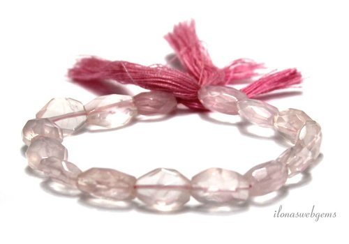Rose quartz beads faceted oval 11x9.5mm