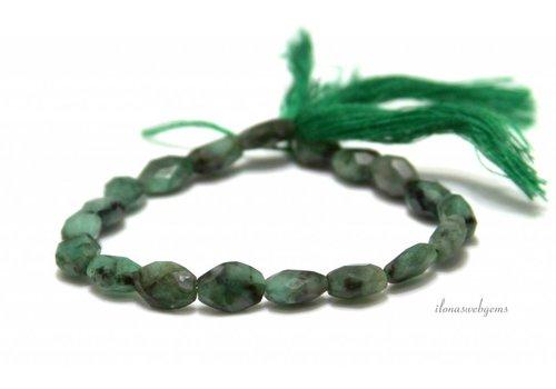 Smaragd kralen facet ca. 9x6.5mm