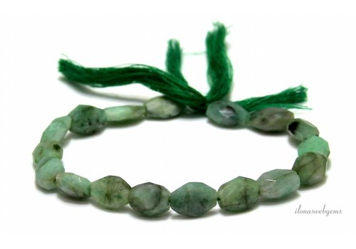 Smaragd kralen facet ca. 9.5x7.5mm
