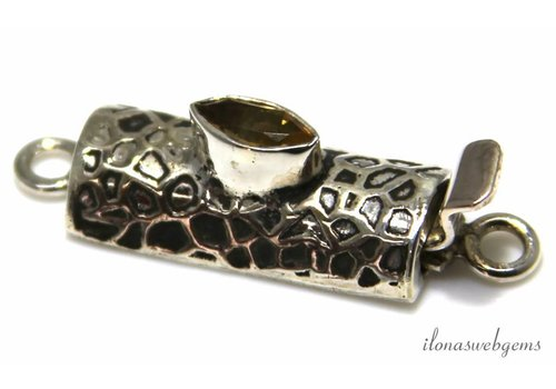Sterling silver box lock with citrine